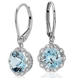 Aquamarine Drop Earrings - 925 Silver